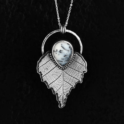 Birch Leaf Dendritic Opal Winter Necklace