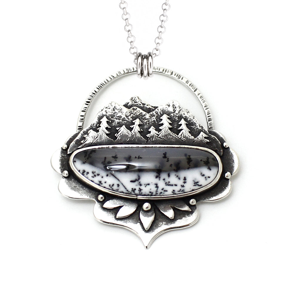 Dendritic Opal Mountainscape Necklace