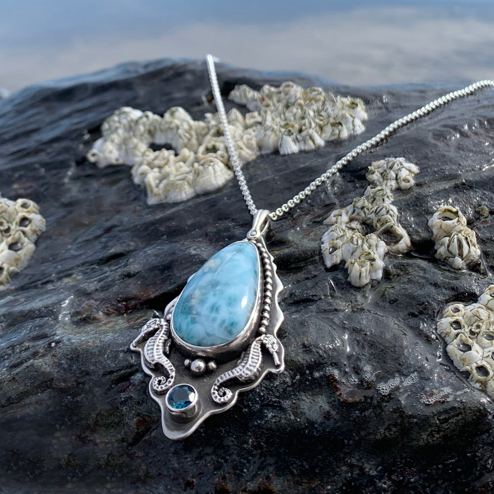 Larimar Seahorse Necklace with London Blue Topaz