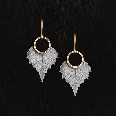 Silver and Gold Birch Leaf Earrings