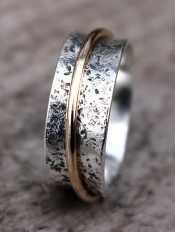 Sterling Silver and Gold Spinner Ring, Narrow Spinner, Wedding Spinner Ring - Mountain Metalcraft