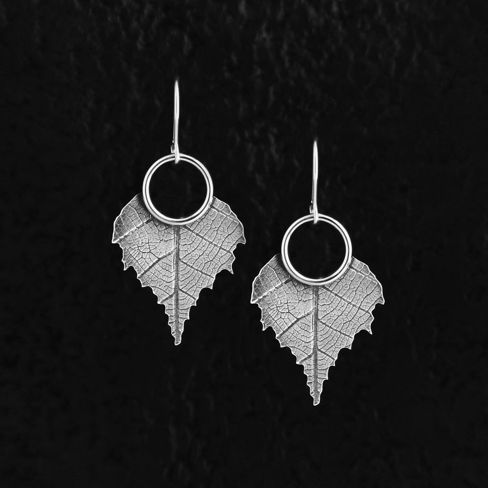 Silver Birch Leaf Earrings