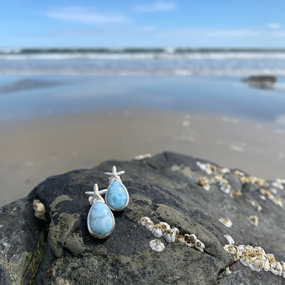Larimar Starfish Earrings