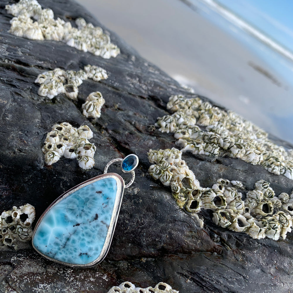 larimar necklace pendant with london blue topaz