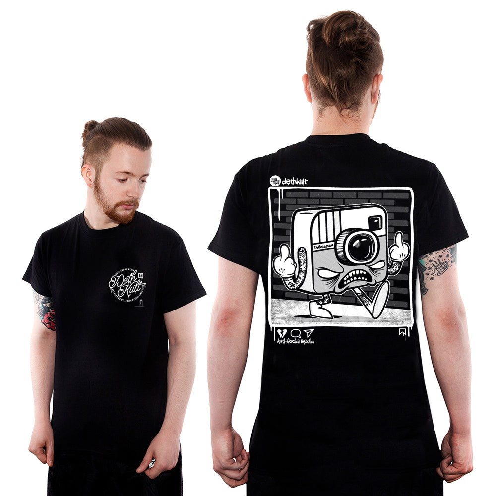 'Anti Social Media' T-Shirt (Black) - Deth Kult