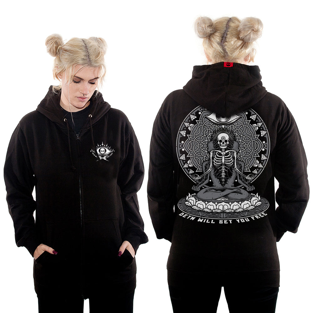 'Deth Will Set You Free' Zipped Hoodie with back print (Black)