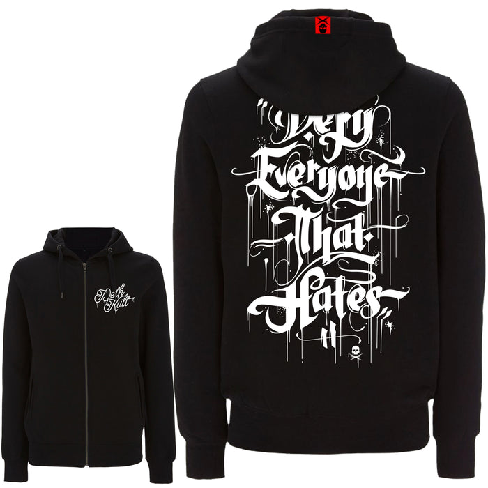 'Defy Everyone That Hates' Zipped Hoodie (Black)