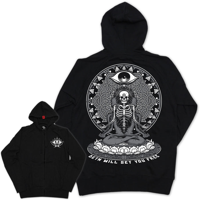 'Deth Will Set You Free' Zipped Hoodie with back print (Black) - Deth Kult