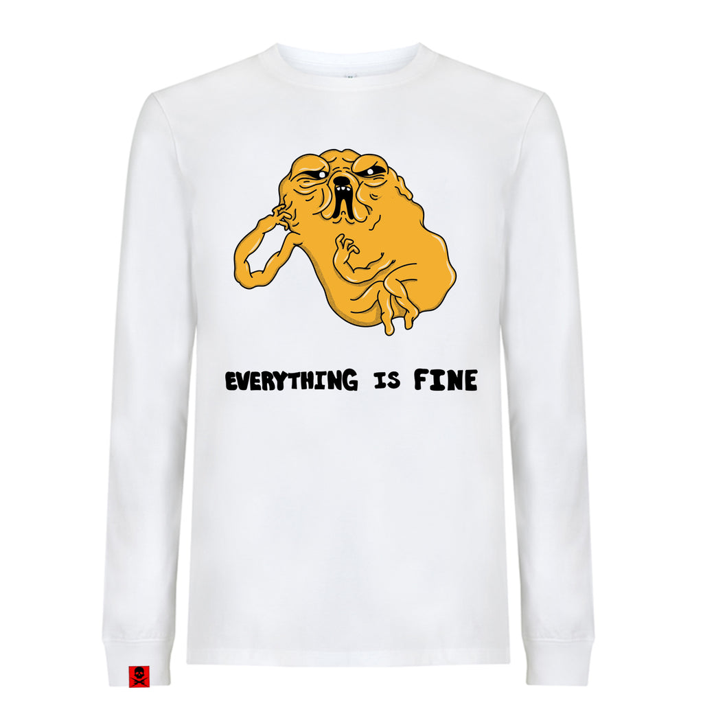 'Everything Is Fine' Long sleeve T-Shirt (White) - Deth Kult