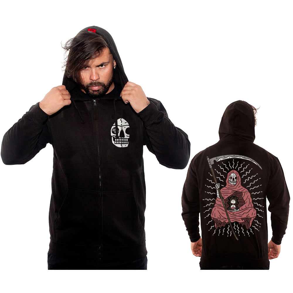 'Levitate' Zipped Hoodie with back print (Black) - Deth Kult