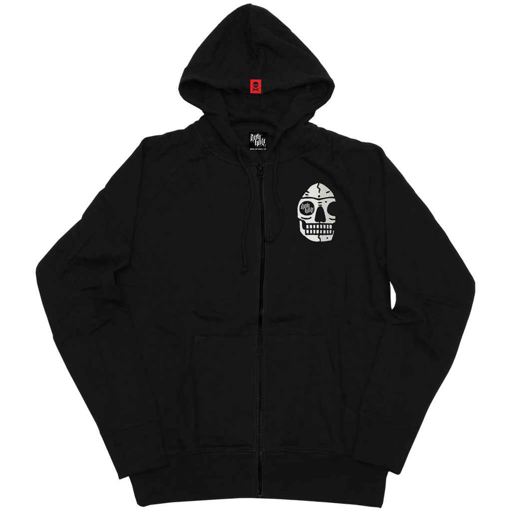 'Levitate' Zipped Hoodie with back print (Black)