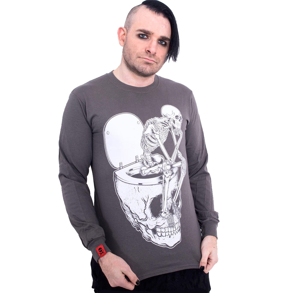 'Shit For Brains' Long Sleeve T-Shirt (Charcoal) - Deth Kult