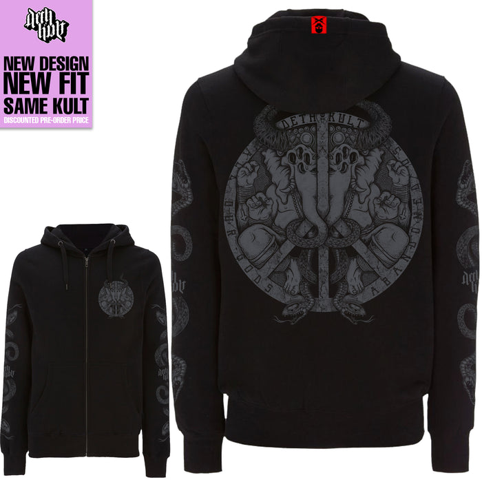 'The Anti-God' Zipped Hoodie (Black) - Deth Kult