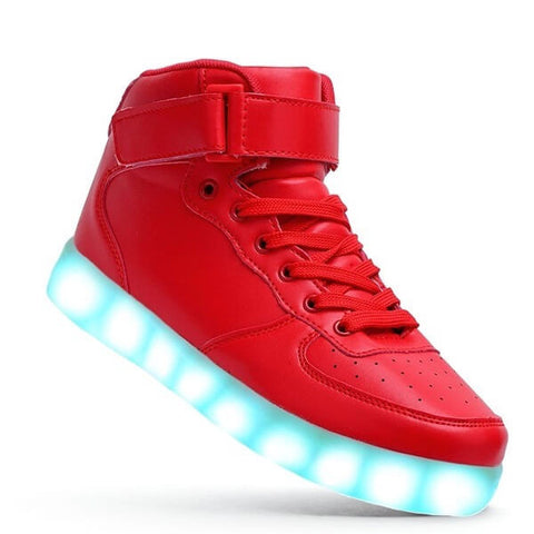 High Top™ - LED Shoes - Light Up Shoes Womens Mens Adults Red