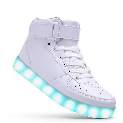 High Top™ - LED Shoes - Light Up Shoes Womens Mens Adults White
