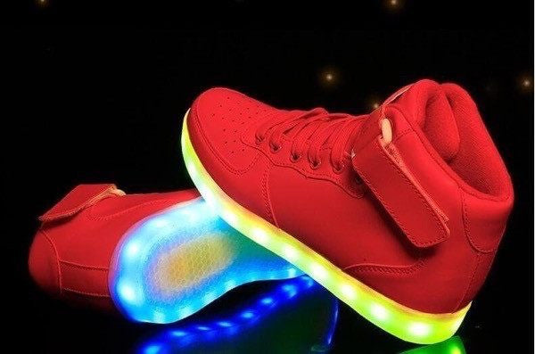 Shoes - LED High Top™ Shoes - Kids Boys Girls Sneakers - Red