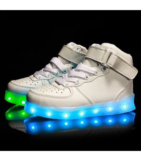 Shoes - LED High Top™ Shoes - Kids Boys Girls Sneakers - White