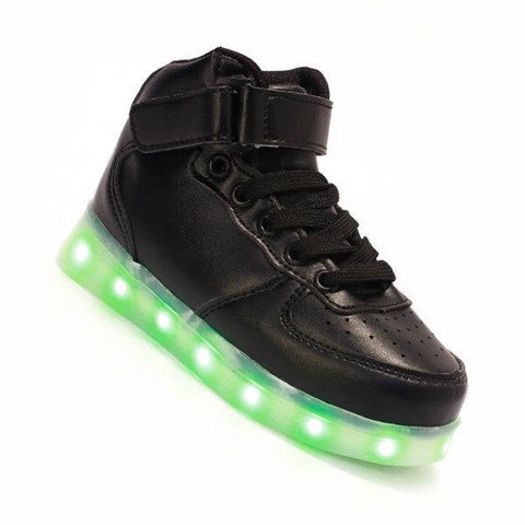 Shoes - LED High Top Shoes - Toddler Little Kids Sneakers - Black