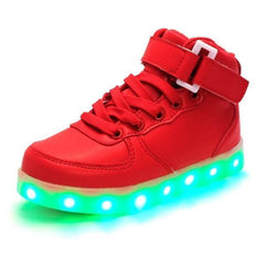 Shoes - LED High Top Shoes - Toddler Little Kids Sneakers - Red
