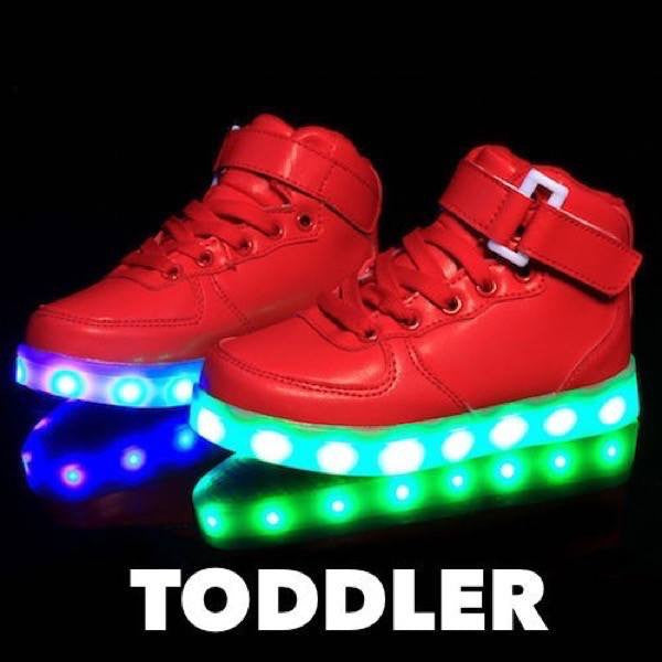 Shoes - LED High Top Shoes - Toddler Little Kids Sneakers - White