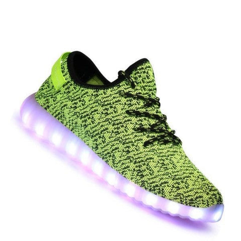 Shoes - LED Yeezy Shoes - Light Up Womens Mens Sneakers - Green