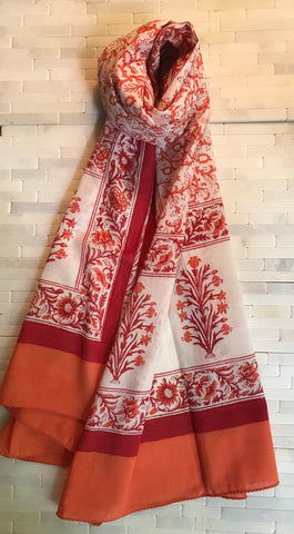 Pomegranate | Mandarin Cotton Block Print Stole