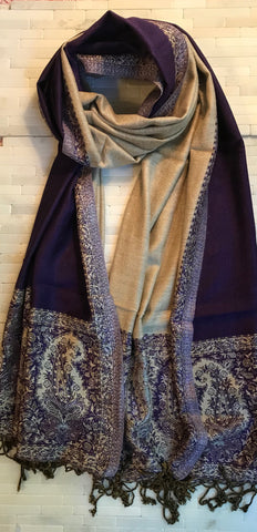 Reversible Purple and Vanilla Paisley Stole