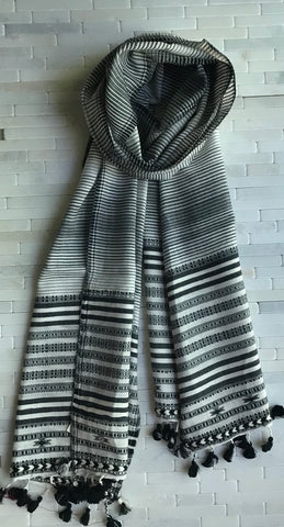 Handwoven Ombre Stripe Cotton Stole