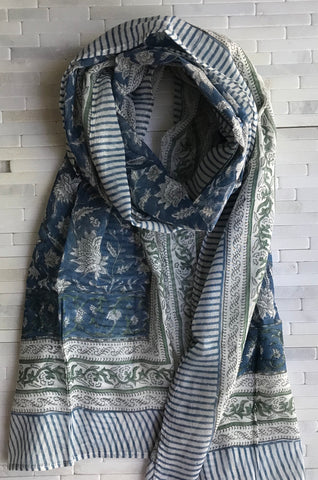 Cotton Indigo Lotus Stole