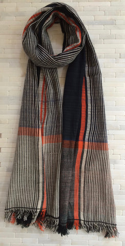 Graphic Black, White and Orange Striped Cotton Stole