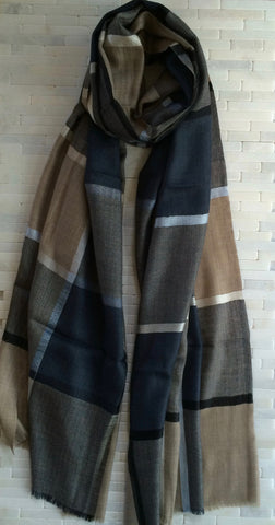 Smart Checked Silk/Pashmina Stole