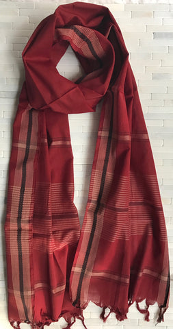Crimson Handloom Cotton Stole