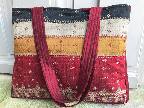 Hand Embroidered Raw Silk Tote Bag