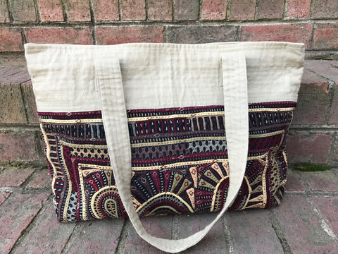 Cotton Tote with Hand Appliqué and Embroidery