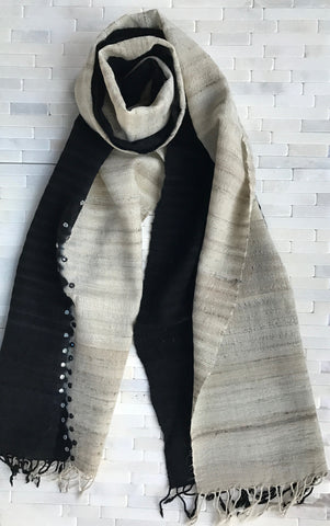 Raw Silk Tussar Stole With Mirrors