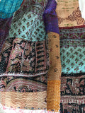 Patched Silk Kantha Work Stole