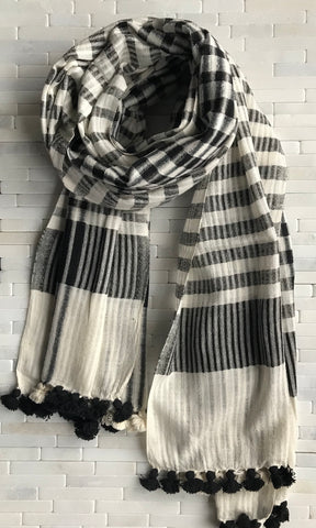 Organic Cotton Black and White Striped Stole