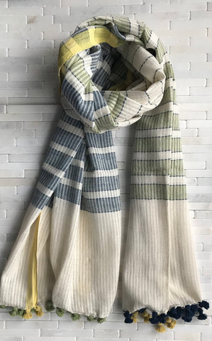 Organic Cotton Handwoven Striped Stole