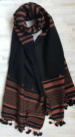 Rust/ Black Handwoven Cotton Stole