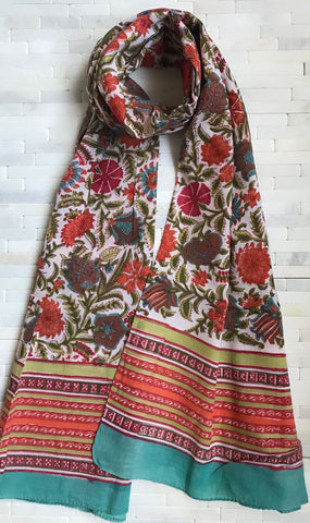 Cotton Kalamkari Floral Stole ( Available in 5 Colors )