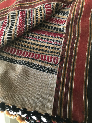 Handwoven Wool Folk Shawl/ Throw