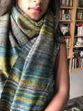 Indigo/Lime Hand Spun Khadi and Raw Silk Stole