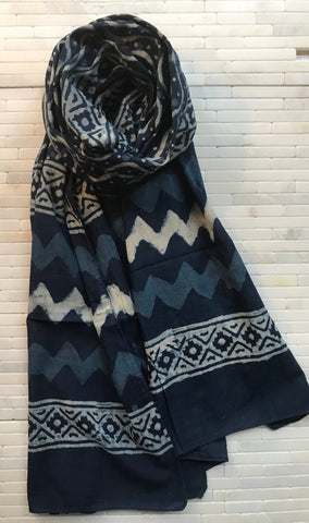 Cotton Indigo Wave Stole