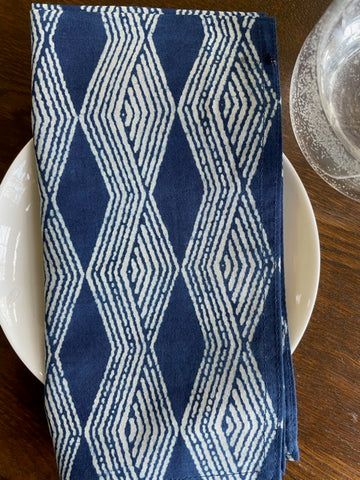 Indigo Cotton Zigzag Table Napkin