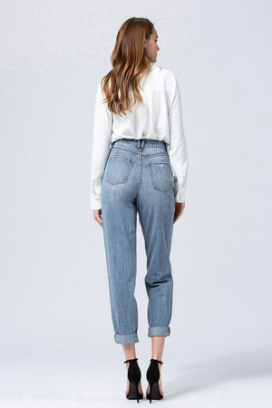 Tapered Boyfriend Denim - Medium Wash - Jori & June