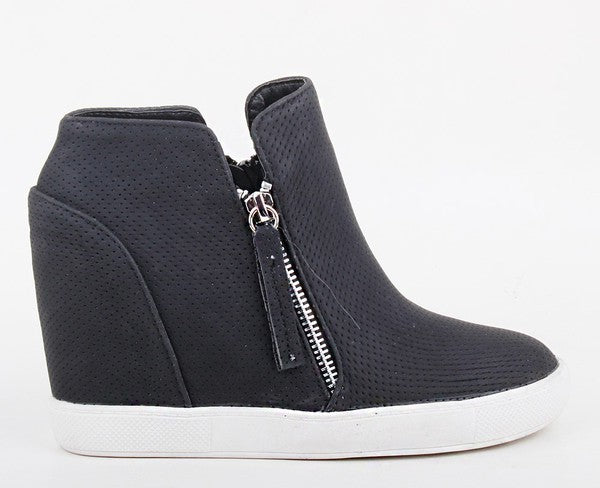 Wedge Sneaker - Black - Jori & June
