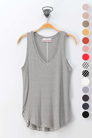 Basic V-Neck Tank - Black & White Stripe - Jori & June