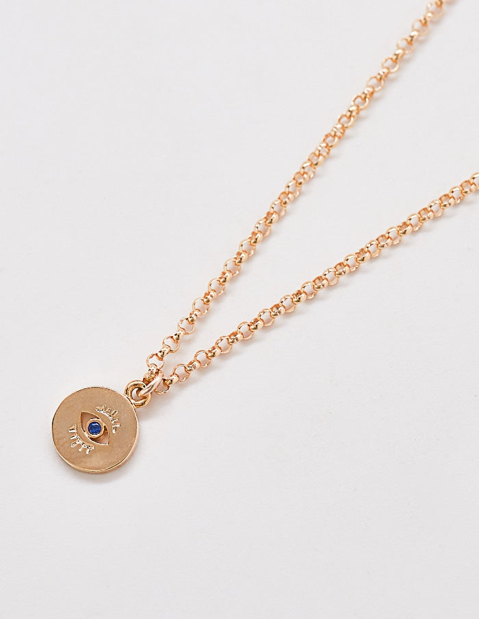 Gold Evil Eye Coin Pendant Necklace - Jori & June