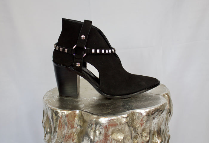 Black suede healed bootie