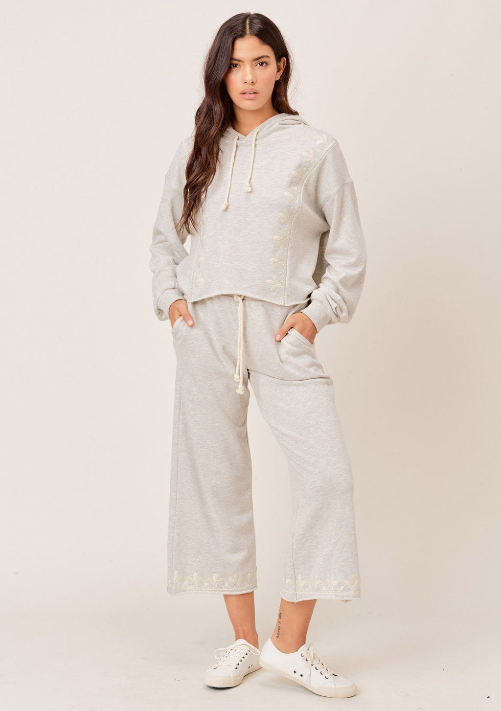 Charli Embroidered Wide-Leg Sweatpants - Jori & June